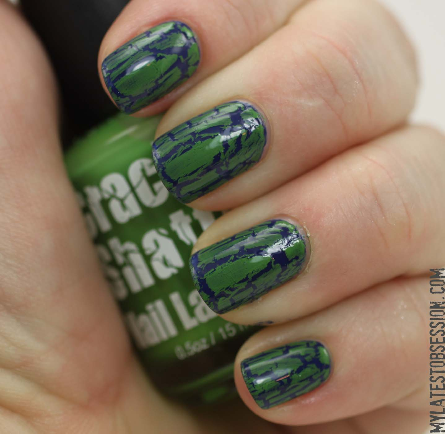 Crackle Shatter green over Sally Hansen Thinking of Blue