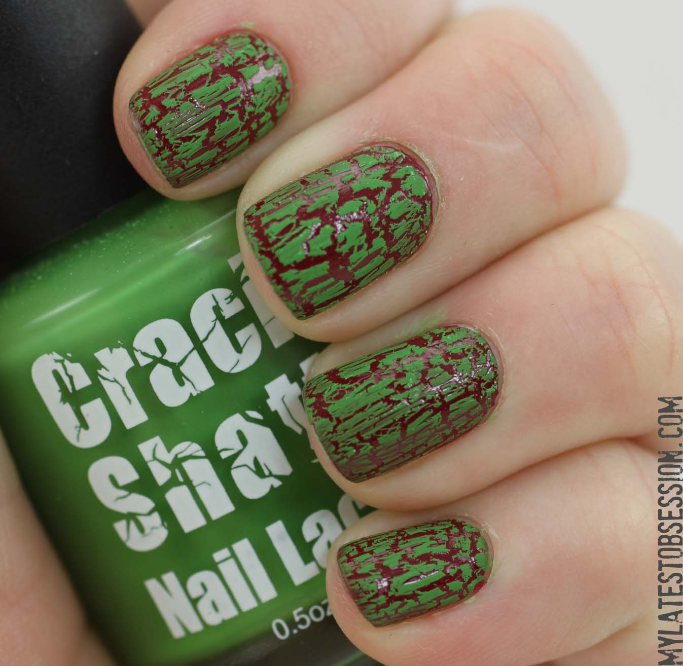 green Crackle Shatter over Ching Glaze City Siren
